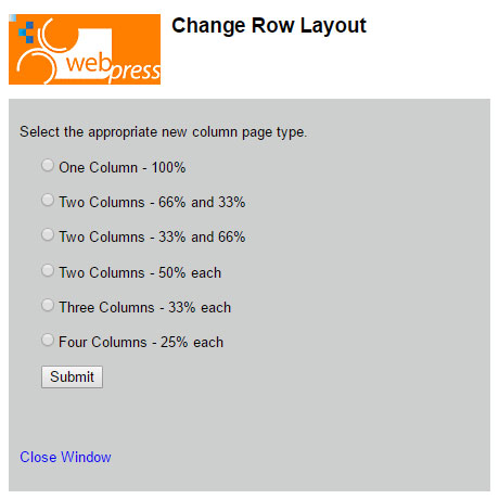 Change row layout options